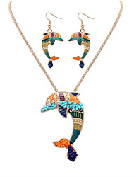 Women European Style Fashion Colorful Cute Dolphin Necklace Earring Set