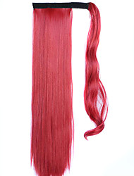 Red wine 60CM Synthetic High Temperature Wire Wig Straight Hair Ponytail Color 130M