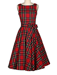 Vestito Da donna Swing Vintage A quadri Medio Rotonda Cotone / Rayon