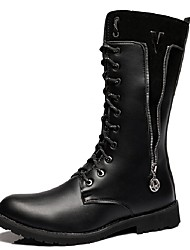 Unisex Boots Motorcycle Boots Combat Boots Fall Winter Synthetic Microfiber PU Casual Party & Evening Black 1in-1 3/4in