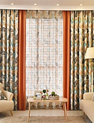 Two Panels European Country Patchwork Polyester Curtain Draps Leaf Pattern