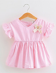New 2016 Spring And Summer Children Pink Blue Stripes Dress Girls Clothes Hot Sale
