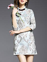 De las mujeres Vaina Vestido Vintage / Simple Estampado Mini Escote Chino Otro