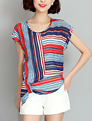 Women's Going out Simple / Street chic Blouse,Striped Round Neck Short Sleeve Red / Yellow Rayon Thin