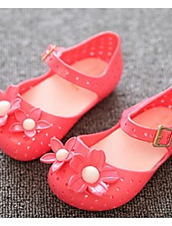 Baby Shoes-Casual-Ballerine-PVC-Nero / Rosso