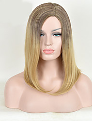 multi-couleur du milieu cheveux raides perruque synthétique européenne