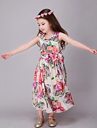 Girl's Floral Dress,Polyester Summer / Spring / Fall Multi-color / Pink / Red / White