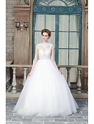 A-line Wedding Dress Sweep / Brush Train Jewel Satin with Appliques