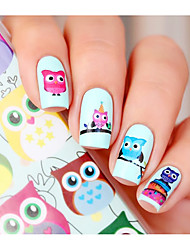 Cartoon Owl Nail Art Water Decals Transfer Sticker BORN PRETTY