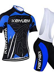 KEIYUEM Krátké rukávy Cyklodres a kraťasy se šlemi Unisex Jezdit na kole Sady oblečení/OblekyProdyšné Rychleschnoucí Odolné vůči prachu