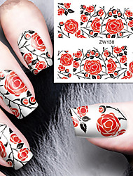 Fashion Printing Pattern Water Transfer Printing Rose Nail Stickers