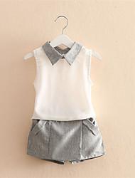 Girls Summer Casual Clothes Set Children Sleeveless T-Shirt + Short Pants Sport Suits 2016 Girl Clothing Sets