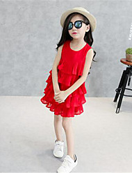 Girl's Red / White Blouse,Solid Rayon Summer / Spring