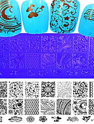 1pcs nieuwe 12x6cm image diy stamping platen nail art templates stencils voor polish xy-l17-20