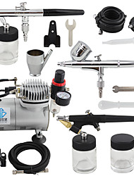 OPHIR 3-Airbrush Gun Spray Air Brush Kit Dual & Single Action Air Compressor Set for Hobby Body Painting