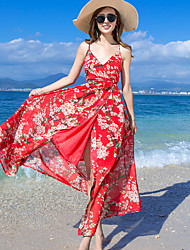 Women's Beach Sexy Sheath Dress,Floral V Neck Maxi Sleeveless Red Polyester Summer