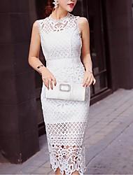Going out Simple Sheath Dress,Solid Round Neck Midi Sleeveless White / Black Nylon Summer Mid Rise
