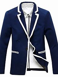 Men's Long Sleeve Regular Blazer,Cotton / Acrylic Patchwork 916208