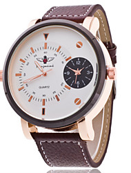 Women/Men's Leather Band Analog Large White Case  Wrist Watch Jewelry