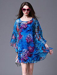 Women's Street chic Print Loose / Chiffon Dress,Round Neck Above Knee Polyester
