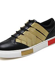 Chaussures Hommes-Extérieure / Bureau & Travail / Décontracté-Noir / Blanc-Cuir / Sergé-Baskets à la Mode