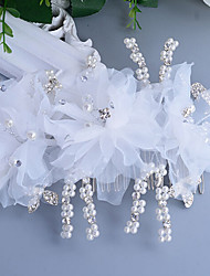Women's Pearl / Rhinestone / Tulle Headpiece-Wedding / Special Occasion Hair Combs / Flowers 1 Piece