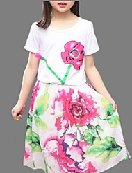 Girl's White Clothing Set,Floral Polyester Summer
