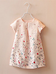 Girl Summer 2016 Vintage Dress Retro Style Cotton Short Sleeve Dress with Flower Printed