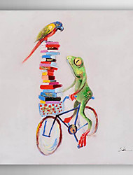 Hand Painted Oil Painting Animal Frog Ride A Bicycle with Stretched Frame 7 Wall Arts®