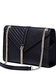 NUCELLE Women Real Genuine Cowhide Leather Purse Shoulder Hand Bag Messenger Metallic Chain Tassel-Black