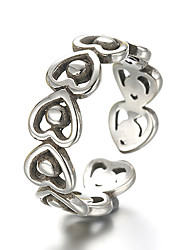 Unisex Vintage Pattern Punk Hollow Heart Antique Sterling Silver Ring Band Rings Daily / Casual 1pc