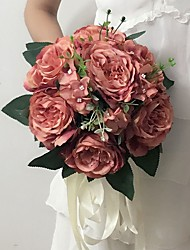 """Wedding Flowers Round Peonies Bouquets Wedding / Party/ Evening Satin 9.84""""(Approx.25cm)"""