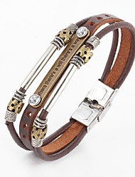 Punk Style Beads Vintage PU Leather Bracelet Leather Bracelets Wrap Bracelets There is a way there is a way