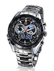 Мужской Наручные часы Японский кварц LED / Календарь / Защита от влаги / С двумя часовыми поясами / тревога Нержавеющая сталь Группа