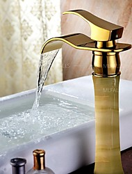 European Imitation Retro Copper Jade Basin Bathroom Countertop Heightening Gold Plated Genuine High-Grade Faucet