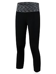 Mujer Pantalones de Running Secado rápido Transpirable 3/4 Medias/Corsario Leggings para Yoga Ejercicio y Fitness Running Negro Morado