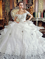 A-line Wedding Dress Floor-length Off-the-shoulder Organza with Crystal / Appliques / Beading