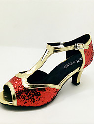 Customizable Women's Dance Shoes Latin Leatherette Flared Heel Red