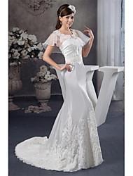 Trumpet / Mermaid Wedding Dress Court Train Strapless Organza / Satin with Appliques / Beading / Draped / Ruche
