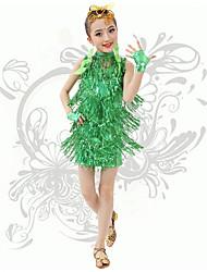 Dança Latina Vestidos Crianças Actuação Elastano 1 Peça Sem Mangas Natural Vestido