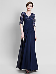 A-line Mother of the Bride Dress Floor-length Chiffon / Lace with Beading / Lace