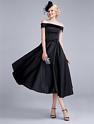 Cocktail Party Dress A-line Off-the-shoulder Tea-length Satin Chiffon / Polyester with Bow(s)