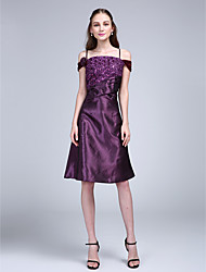 Cocktail Party Dress Princess Spaghetti Straps Knee-length Satin with Appliques / Sash / Ribbon / Sequins