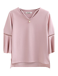 Women's Summer Loose/Casual/Daily/Solid Color Round Neck ¾ Sleeve Fashion Blouse Tops