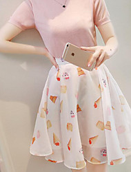 Women's Knee-length Skirts,Cute Floral