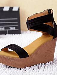 Calçados Femininos-Saltos-Saltos-Salto Grosso-Preto-Couro Ecológico-Casual