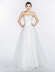 A-line Wedding Dress Court Train Strapless Lace / Satin / Tulle with Lace