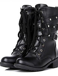 Women's Boots Winter Fashion Boots PU Casual Low Heel Lace-up Black Others