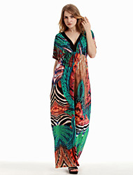 Women's Holiday / Plus Size Boho Swing Dress,Print Asymmetrical Maxi Sleeveless Green Cotton / Polyester Summer