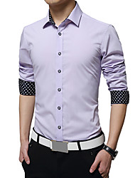 Men's Fashion Solid Non-Ironing Printed Lining Casual Slim Fit Long-Sleeve Shirt,Cotton/Solid/Business